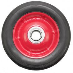 Roata pentru carucior, cu rulment, cauciuc brut, 7 x 1.5, negru/rosu, YTGT-00025