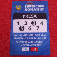 Acreditare presa meci fotbal ASTRA Giurgiu-CFR CLUJ(Supercupa Romaniei 2016)
