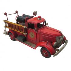 Macheta masina Pompieri retro metal rosie 30 cm x 12 cm x 14 cm