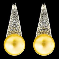 Cercei din Argint 925 cu Perle Naturale si Diamante, Gloria Gold