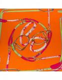 Batic dama matase naturala Pami belts, 90x90 cm, portocaliu