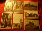 Set 11 Ilustrate Arhitectura si Pictura Papala - interbelic , sepia ,Fotogravura