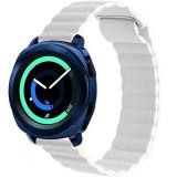 Curea piele Smartwatch Samsung Gear S3, iUni 22 mm White Leather Loop