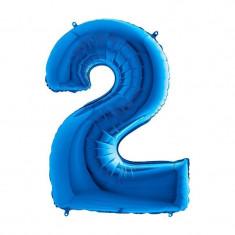 Balon folie cifra mare, albastru metalizat, 35 cm, pentru aniversari model model 2