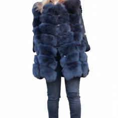 Vesta din blana naturala de vulpe culoare gri marime XL