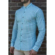 Camasa tunica dungi turquaz - camasa tunica camasa barbat camasa slim #193