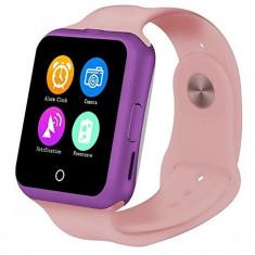 Ceas Smartwatch cu Telefon iUni V88,1.22 inch, BT, 64MB RAM, 128MB ROM, Roz