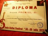 Diploma Premiul II - Fundatia Romana de Chitara- Festival Internat.2016 Sinaia
