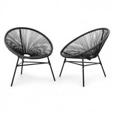 Blumfeldt Las Brisas, set de 2 scaune, design retro, 4mm panglică, negru