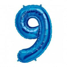 Balon folie cifra mare, albastru metalizat, 35 cm, pentru aniversari model model 9