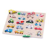 Puzzle Lemn Vehicule, New Classic Toys