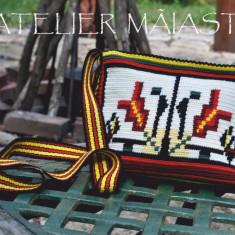 Geantă croșetată handmade motiv popular Bucovina gura-leului