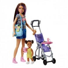 Papusa Barbie cu copil si accesorii, 21 cm, multicolor