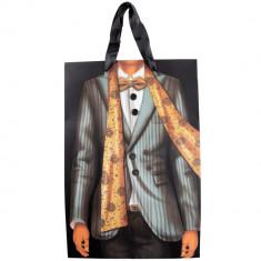 Punga pentru cadouri Arti Casa, imprimeu costum gri/negru, 33.5x22.5x10 cm, Multicolor
