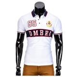 Tricou pentru barbati polo alb simplu slim fit casual S850