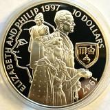 INSULELE SOLOMON 10 DOLLARS 1997,GOLDEN WEDDING ANNIVERSARY,AG925+AUR 22CT.CAMEO