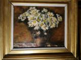 Cumpara ieftin Tablou vechi Cana cu margarete, semnat Ispir, ulei pe carton, 31x36 cm, Nonfigurativ, Realism