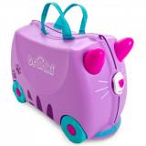 Valiza pentru copii Ride-On Pisicuta Cassie Trunki, Mov, 46 cm