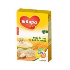 Cereale copii MILUPA Fulgi de orez fara lapte cu gust de vanilie 200g