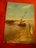 Ilustrata Giurgiu - Nave si Podul Prieteniei , anii'70