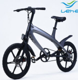 Bicicleta electrica Lehe S1, Viteza maxima 30 Km/h, Baterie LG, Far LED, Roti 20inch (Argintiu)