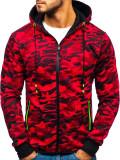Cumpara ieftin Bluză pentru bărbat cu glugă și fermoar camuflaj-roșie Bolf DD99-1
