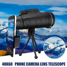 Monocular 60x40 mm Prindere Smartphone Amplificare 10x Busola Cu Trepied Negru