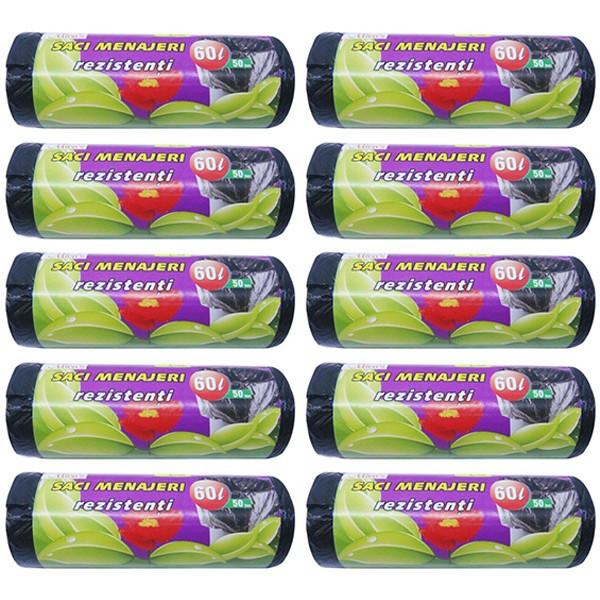 10 x Saci menajeri 60L pentru pubela, menaj, gunoi, deseuri, frunze, 10 x 50buc