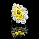 Inel placat cu Aur 18K si Diamante, Alessandra Platinum & Yellow