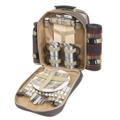 Rucsac picnic 4 persoane, accesorii incluse, poliester, Everestus, CP1, maro, saculet de calatorie si pastila racire incluse foto