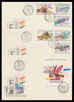 1992 Romania, 3 FDC Expozitia Mondiala SEVILLA Era descoperirilor LP 1293 & 1294 foto