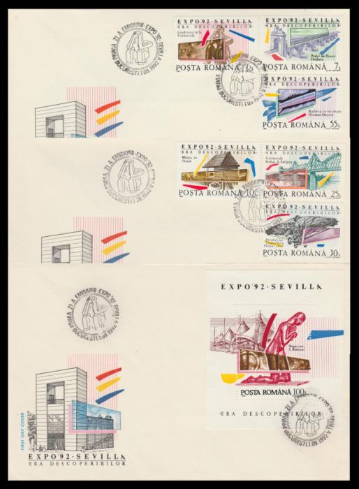 1992 Romania, 3 FDC Expozitia Mondiala SEVILLA Era descoperirilor LP 1293 & 1294