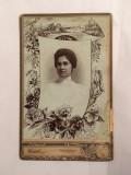Fotografie veche, portret femeie tanara, 1900, la Târgu Mureș (Marosvásárhely)