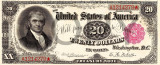 20 dolari 1890 Reproducere Bancnota USD , Dimensiune reala 1:1