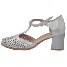 Pantofi dama, din piele naturala, marca Pitillos, 5558-19-18-132, argintiu