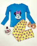 Pijama dama ieftina din bumbac lunga cu pantaloni lungi galbeni si bluza cu maneca lunga albastra cu imprimeu MM Happy Face