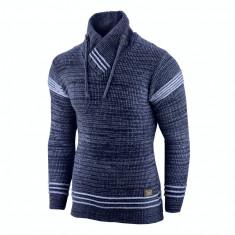 Pulover pentru barbati bleumarin guler inalt flex fit casual Alaska Hutte