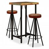 Mobilier bar 3 piese lemn masiv reciclat, piele naturală, pânză