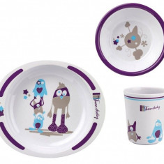 Set pentru masa din melamina Little Monster - Thermobaby