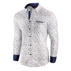 Camasa pentru barbati alba flex fit cu model Soiree d automne II