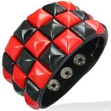 Brățară din piele – model tablă de șah, negru şi roşu