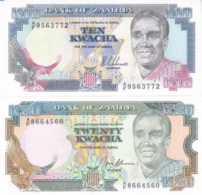 Bancnota Zambia 10 si 20 Kwacha 1989/91 - P31a/32b UNC ( set x2 ) foto