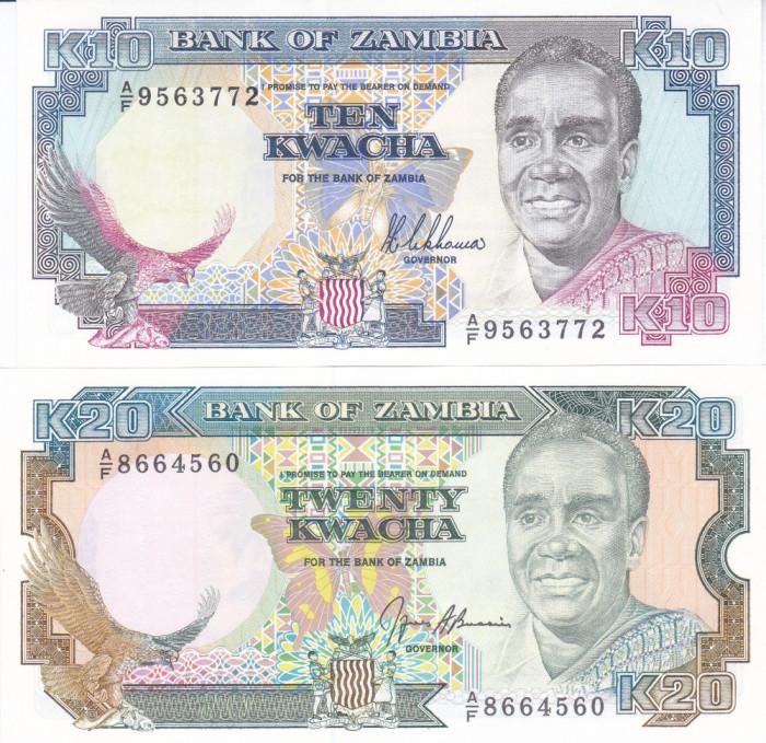 Bancnota Zambia 10 si 20 Kwacha 1989/91 - P31a/32b UNC ( set x2 )