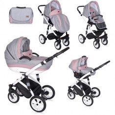 Carucior Set 3 in 1 Mia Pink & Grey, Lorelli