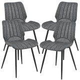 Cumpara ieftin Set patru bucati scaune design Norica, 77 x 57,5 x 46 cm, poliester/metal, gri inchis