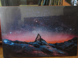 Pictura / tablou (reprod) pe panza, peisaj extraterestru, 90x60cm, ca nou
