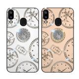 Husa pietricele + inel rotativ ' Clock ' Huawei  P30 Lite ; P30 Pro, Alt model telefon Huawei, Alb, Roz, Alt material