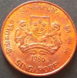 Moneda 1 CENT - SINGAPORE, anul 1986 *cod 5184 - UNC, Asia