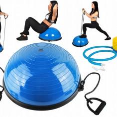 Set minge fitness tip Bosu pentru echilibru cu manere corzi elastice si pompa, culoare Albastru