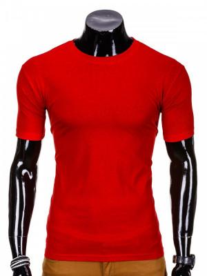 Tricou pentru barbati rosu simplu slim fit mulat pe corp bumbac S620 foto